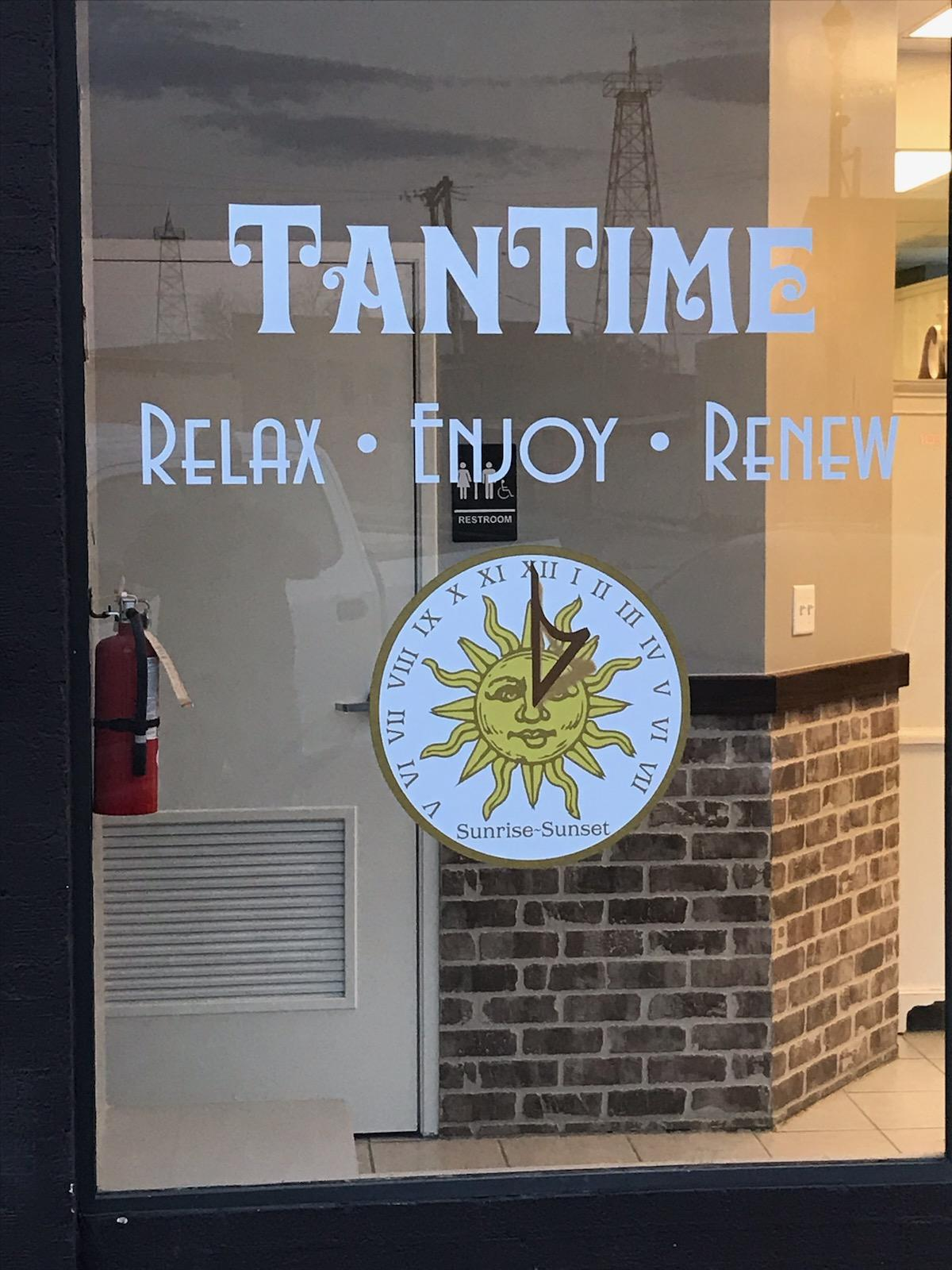 tan time front window